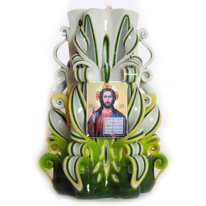 """Резная свеча """"Иисус Христос"""" Зеленая 13 см"""