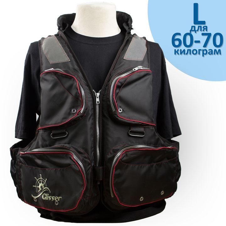 """Страховочный жилет """"Glisser"""" Premium Black """"Shimano"""" размер """"L"""" от 60 до 70 кг."""