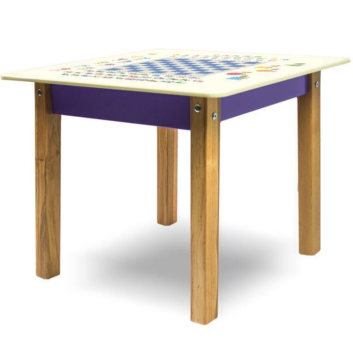 """Детский игровой  столик парта """"Woody"""" 60 х 60 с картинкой Шашки (с пеналом)"""