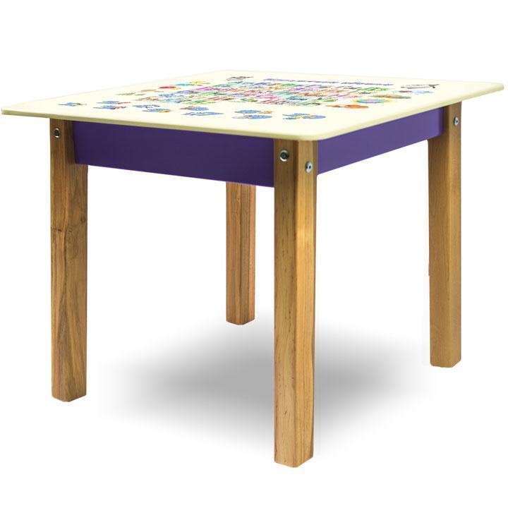 """Детский игровой  столик парта """"Woody"""" 60 х 60 с картинкой Азбука"""