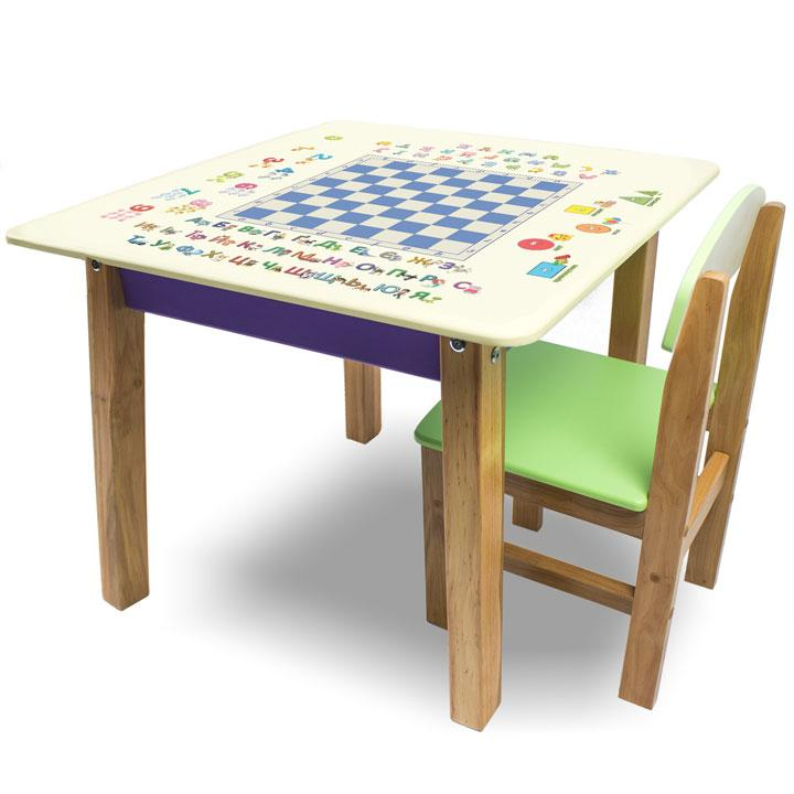 """Комплект детской мебели столик и стульчик из натурального дерева """"Woody"""" 60 х 60 с картинкой Шашки"""