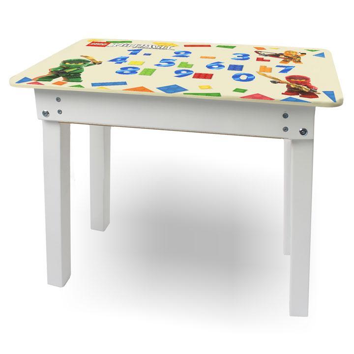 """Детский игровой  столик парта """"Woody"""" 60 х 40 белый с картинкой Ниндзяги (с пеналом)"""