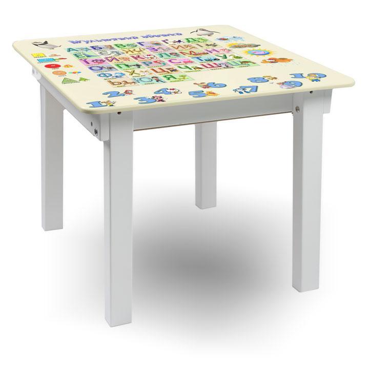"""Детский игровой  столик парта """"Woody"""" 60 х 60 белый с картинкой Азбука (с пеналом)"""