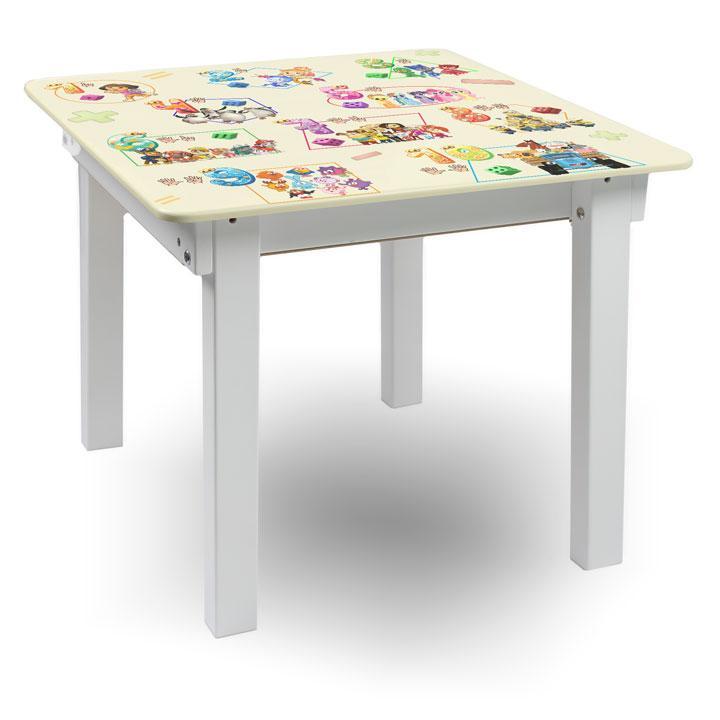 """Детский игровой  столик парта """"Woody"""" 60 х 60 белый с картинкой Математика (с пеналом)"""