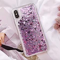 """Чехол накладка силикон """"Блестки"""" для iPhone 7/8  - фиолетовый"""