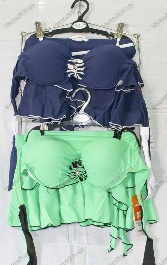Купальник раздельный бикини с пуш ап и юбочкой - розовый, мятный, синий - 13049, фото 2