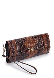 Женский кошелек коричневый кожаный с тиснением (01-01)