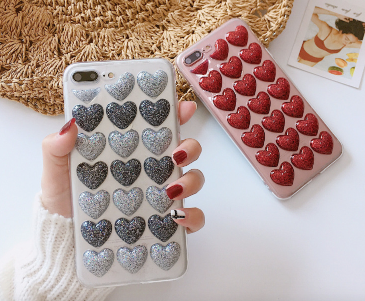 Чохол накладка силікон 3D CLEAR HEART iPhone 7/8 - срібло