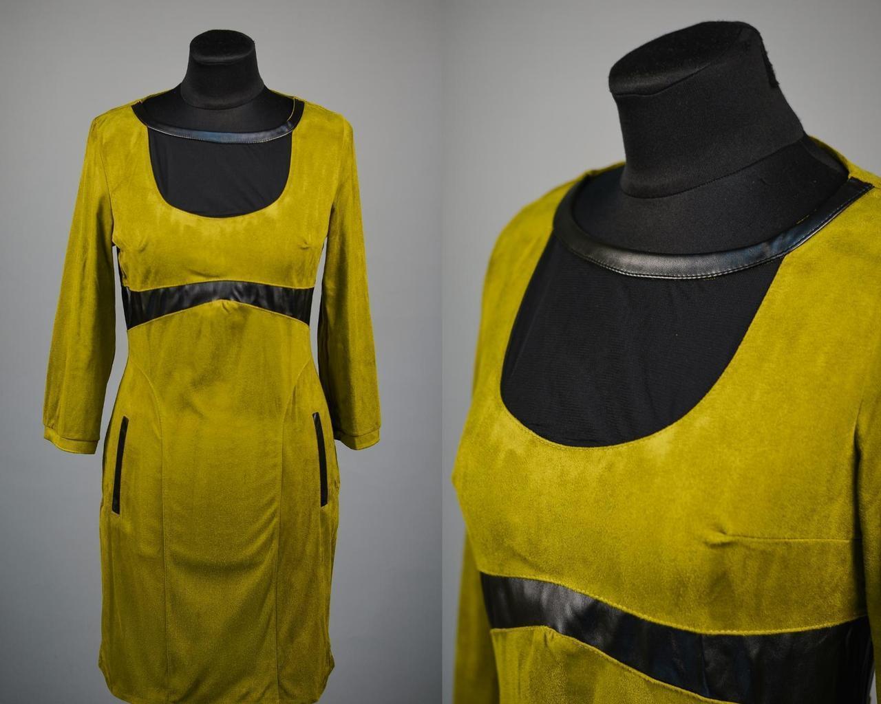 """Стильное женское платье со вставками из эко кожи и сеточки ткань """"Эко замши"""" 42 размеры норма"""