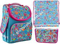 """Набор рюкзак ортопедический каркасный + сумка для обуви + пенал «Smart» PG-11 """"Funny owls"""" 555930-1, фото 1"""