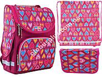 "Набор рюкзак ортопедический каркасный + сумка для обуви + пенал «Smart» PG-11 ""Hearts Style"" 555920-1, фото 1"