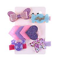 Набор детских украшений 5 заколок Фиолет для Принцессы для девочки