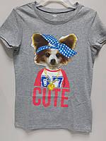 Футболка Детская Old Navy на Девочку с Принтом Оригинал из Америки с Собакой