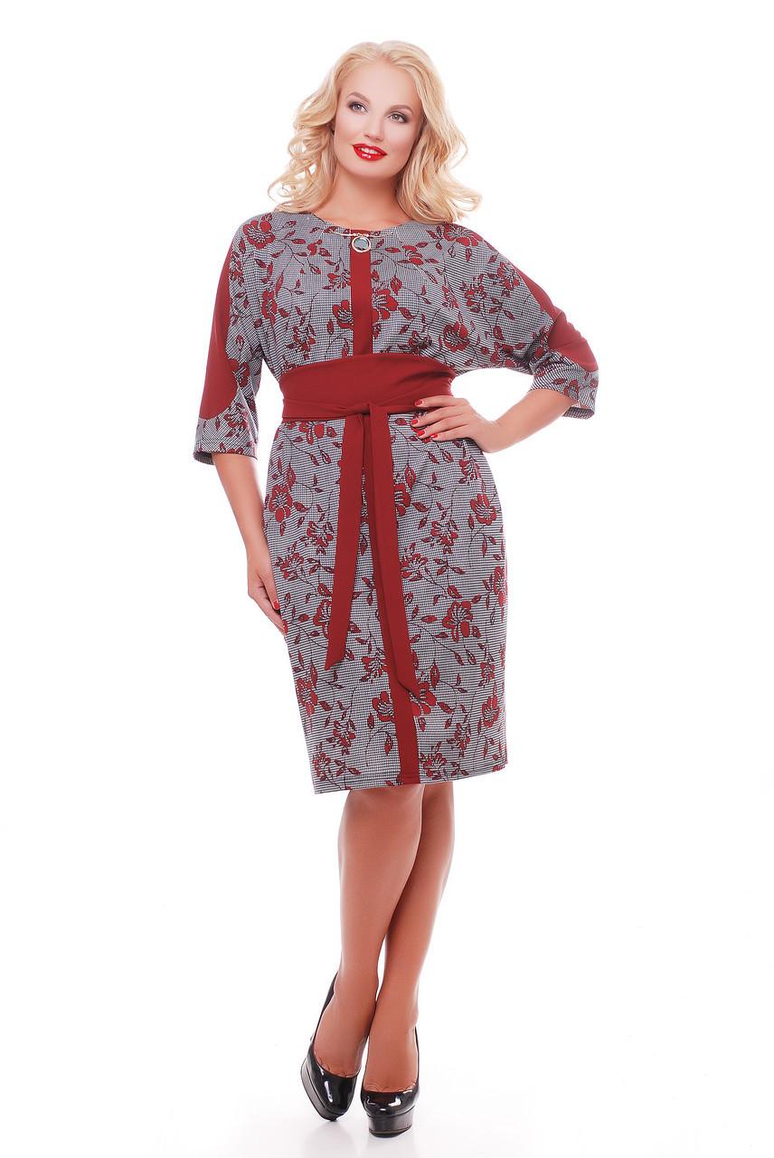 Красивое платье   Кэтлин бордо розы Размеры  52, 54, 56, 58.