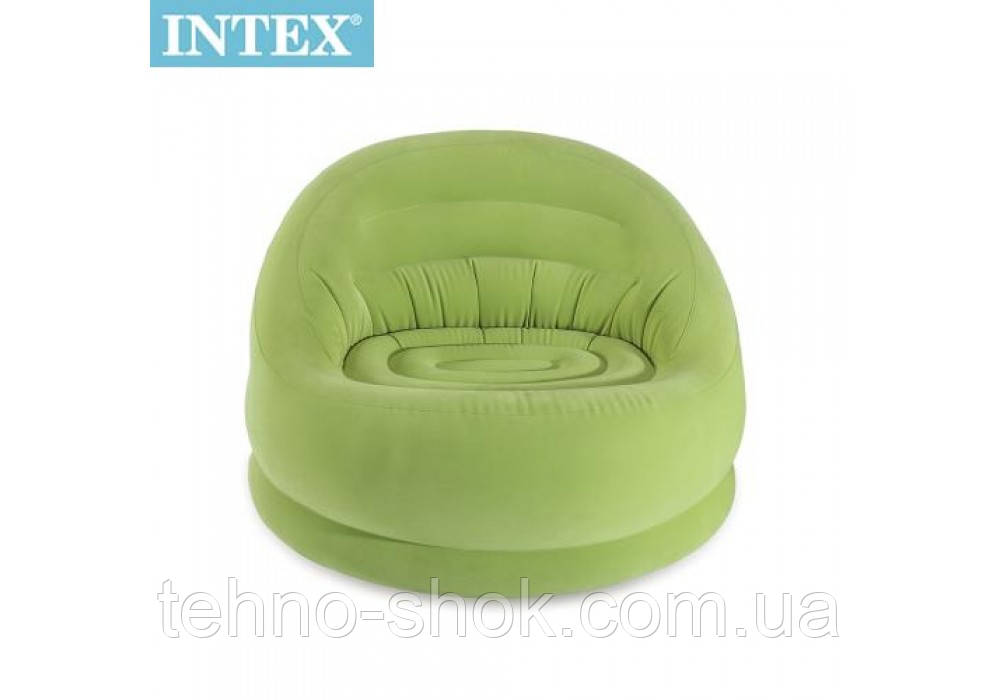 Надувное кресло велюр Intex 68577 (112-104-79 см) зеленое