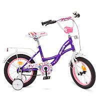 Велосипед детский 14 дюймовый Profi Y1422-1 Bloom, фиолетовый, звонок, доп.колеса