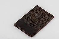 """Обложка для паспорта, обложка из натуральной кожи с тиснением """"Мандала"""""""