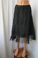 Юбка женская нарядная шикарная шелк кружево бренд Amuleti J р.46, фото 1