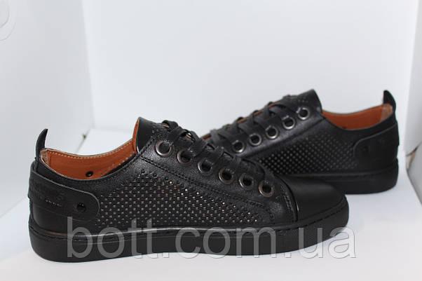 Кеды летние кожаные черные, фото 2