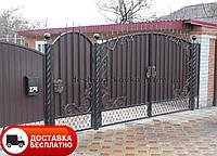 Ковані розпашні ворота з профнастилом та елементами ковки