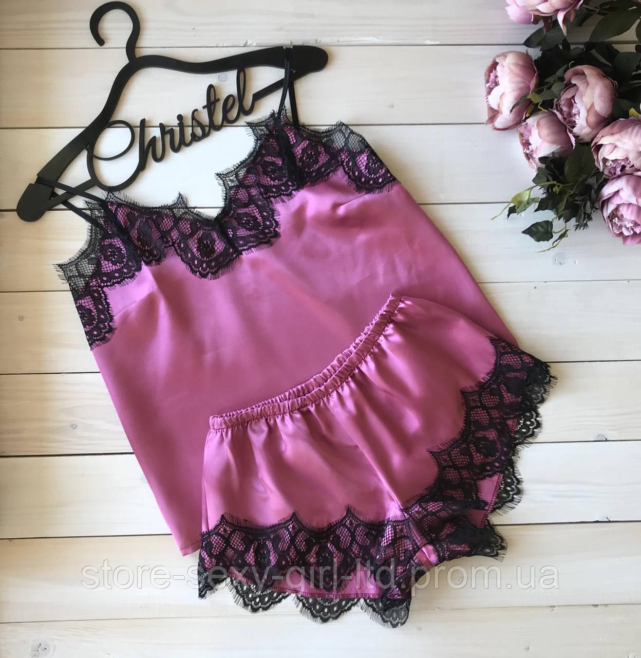 6f8d78d24ee6 Кружевная атласная женская пижама (шортики+ майка) - размеры: S, M ...