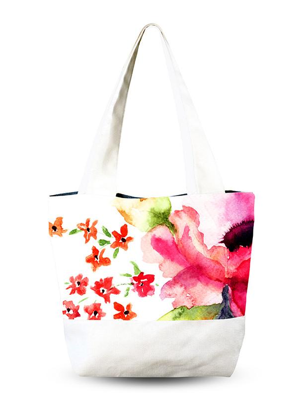Сумка для пляжа женская с цветами.