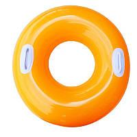 Надувной круг для плавания  INTEX оранжевый глянцевый 76см, от 8 лет