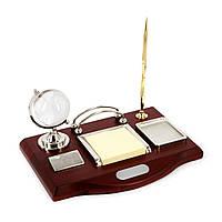 Канцелярский набор на стол с стеклянным земным шаром и стойками зажимами для визиток CAS2211