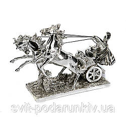 Статуэтка колесница с лошадьми и воин PLS0134Y-13