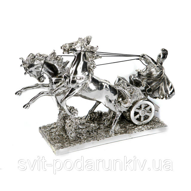 Статуэтка колесница с лошадьми и воин PLS0134Y-13, фото 1