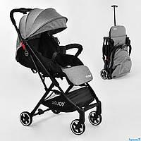 Коляска прогулочная детская, СЕРАЯ, футкавер, дождевик, съемный бампер JOY С - 308