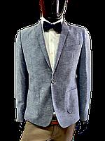 Мужской пиджак серо-синий меланж Fellini 2 Лето № 121/1 полуприталенный