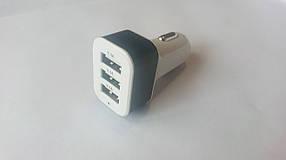 Юсб зарядка для мобильных устройств в прикуриватель автомобиля (тройная), фото 3