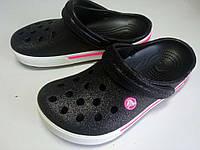 Женские кроксы черные, сабо блестящие Crocs оригинал