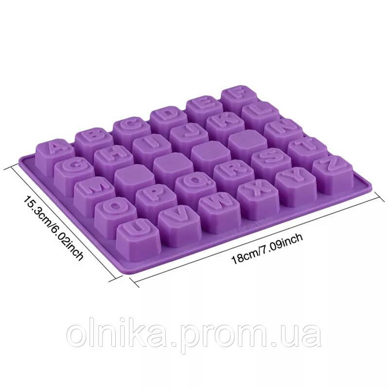 Силиконовый молд-форма алфавит для гипса, мастики, шоколада, карамели, мыла и свечей