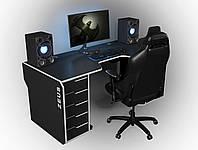 Геймерский игровой стол Viking-2S, 160х85х80 Черный/Белый (Zeus ТМ)