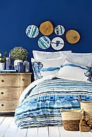 Постельное белье Karaca Home ранфорс Nalini mavi голубой полуторное Коллекция 2019