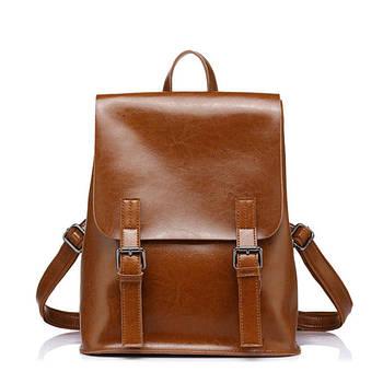 Рюкзак жіночий стильний з натуральної шкіри з пряжками (рудий)