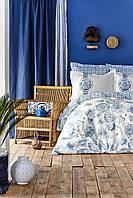 Постельное белье Karaca Home ранфорс Felinda mavi голубой полуторное Коллекция 2019