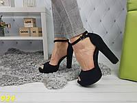 Босоножки классика на толстом устойчивом каблуке черные