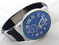 Стальные часы в стиле Nardin  Le Locle на синем каучуковом ремешке, синий циферблат