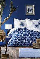 Постельное белье Karaca Home ранфорс Belina mavi голубой полуторное Коллекция 2019