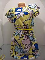Красивое летнее платье, на талии резинка. Талию подчеркивает поясок , р.42 код 1533М
