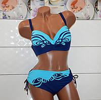 Большой 54 размер, стильный сине-голубой раздельный купальник для пышных женщин с узором.