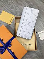 Красивый бумажник Louis Vuitton белый Женский кожа Портмоне кошелек Трендовый VIP Луи Виттон реплика, фото 1