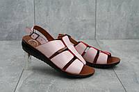 Кожаные женские босоножки удобные практичные качественные в розовом цвете, фото 1