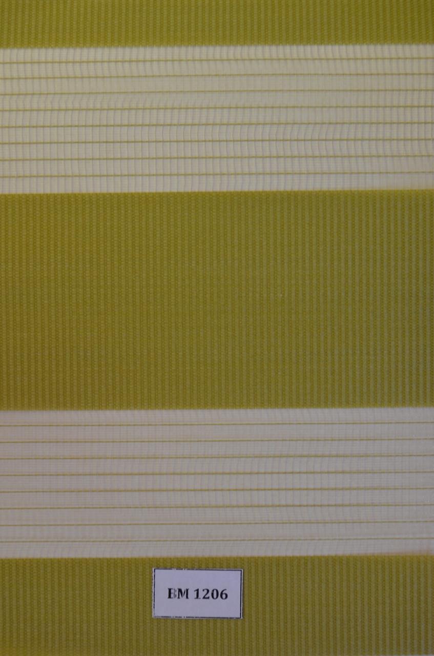 Рулонні штори день-ніч зелені ВМ-1206