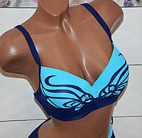 Батальный 56 размер, сине-голубой женский раздельный купальник для пышных дам с узором бабочка