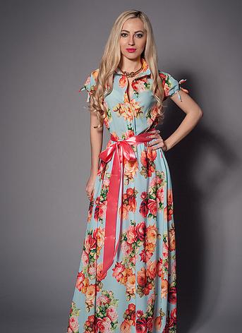 Летнее длинное женское платье с цветами, фото 2