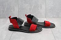 Женские летние босоножки замшевые низкие легкие удобные на резинке в красном цвете, фото 1